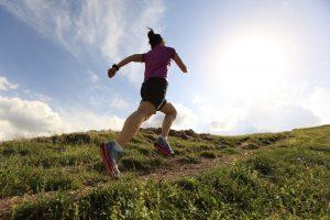 Running to mountain top