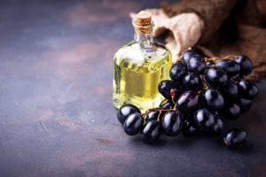 Grape seeds oil in small bottles